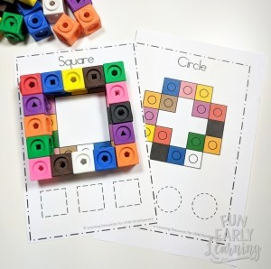 Snap Cube Shapes Activity for Preschool