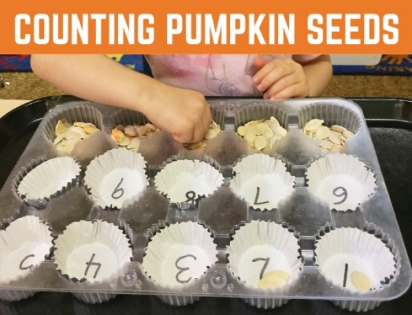 Pumpkin Seed Counting fall and Halloween math activity. Great counting activity for preschool, kindergarten, and early childhood!