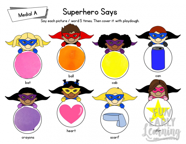 Superhero Says Articulation Activity for Medial Sounds! Fun free printable for working on articulation, speech and phonics! Great for preschool, pre-k, kindergarten, and early childhood. #articulation #speech #speechtherapy #phonics #medialsounds #freeprintable #freeactivity #preschool #kindergarten #earlychildhood