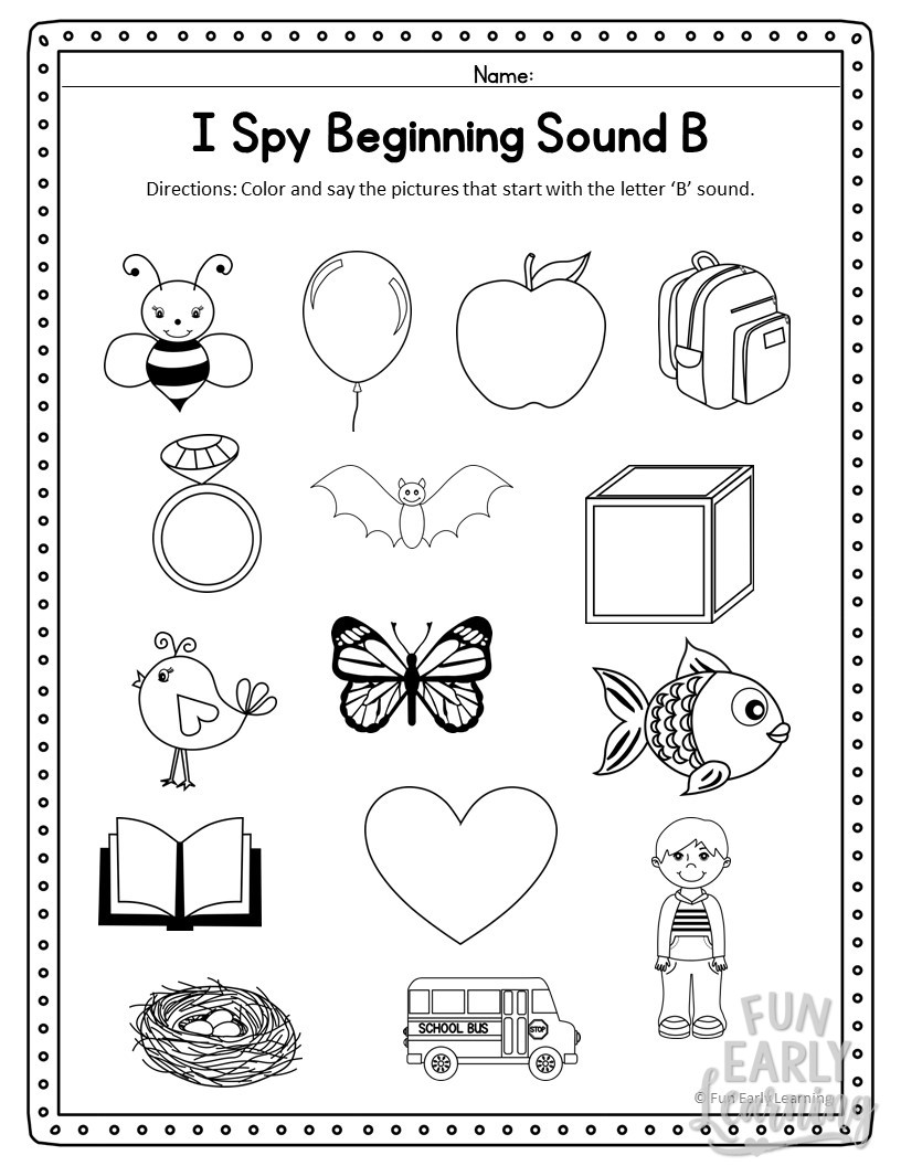 I Spy Beginning Sounds Activity Free Printable For Speech And Apraxia