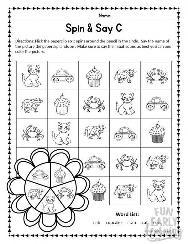Spin and Say Initial Sounds FREE Phonics Activity. Great for learning beginning reading skills, beginning sounds, and phonics in preschool, kindergarten, RTI, and early childhood. #literacycenter #phonics #initialsounds #freeprintable