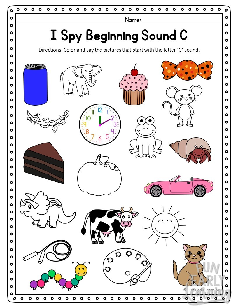 I Spy Beginning Sounds Activity - Free Printable for Speech ...