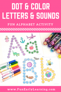Dot and Colors Letters and Sounds Activity. Fun free printable for letters and phonics! Great for preschool, kindergarten, RTI, and early childhood. #alphabetactivity #phonics #freeprintable #funearlylearning