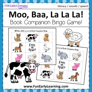 Moo, Baa, La La La Book Companion FREE Bingo Game. Great for articulation, speech, literacy and language. Fun activity for toddlers, preschool, kindergarten, RTI, and early childhood. #bingo #moobaalalala #freeprintable