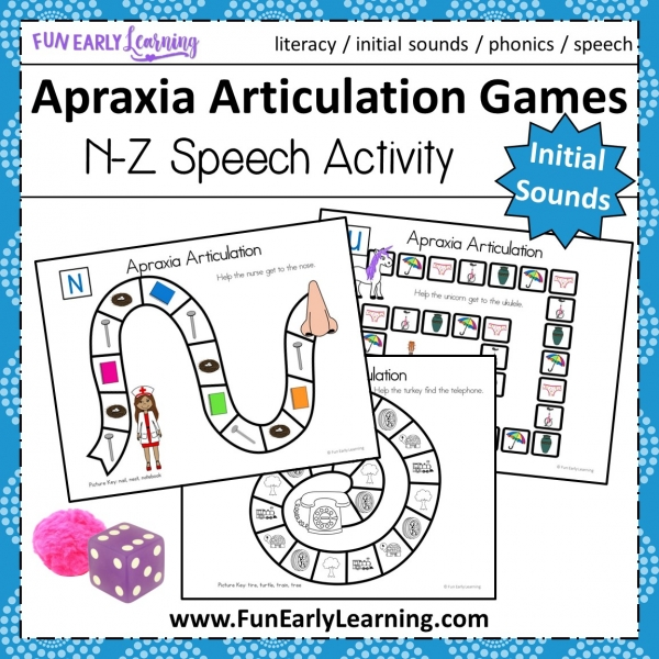Apraxia Articulation Games N-Z Speech Therapy Activity. Fun hands-on speech activity for learning articulation, speech and initial sounds in preschool and kindergarten. #articulation #speechtherapy #apraxia