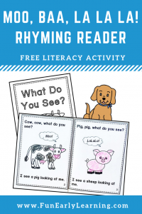 Moo, Baa, La La La FREE Book Companion Rhyming Reader Booklet. Perfect for learning rhyming, comprehension, language, literacy, and articulation skills! Great for preschool, kindergarten, and early childhood. #rhyming #literacycenter #moobaalalala #freeprintable