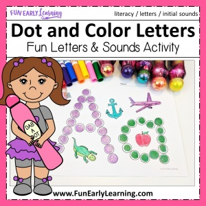 Fun Alphabet Activities for preschool and kindergarten! Dot and Color Letters and Sounds is a free printable for learning letter recognition and letter sounds. #freeprintable #alphabetactivities #funearlylearning