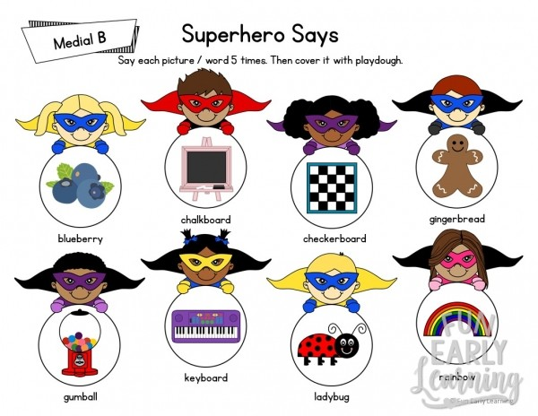 Superhero Says Articulation Activity for Medial Sounds! Fun free printable for working on articulation, speech and phonics! Great for preschool, pre-k, kindergarten, and early childhood. #articulation #speechtherapy #phonics #freeprintable
