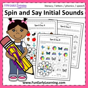 Spin and Say Initial Sounds Free Phonics Activity. Great for learning beginning reading beginning sounds, and phonics in preschool, pre K, and Kinder. #phonics #freeprintable #funearlylearning
