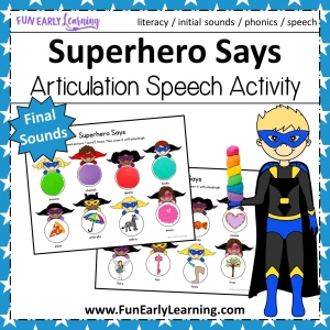 Superhero Says Articulation Activity for Final Sounds! Fun free printable for working on articulation, speech and phonics! Great for preschool, pre-k, kindergarten, and early childhood. #articulation #speechtherapy #phonics #freeprintable