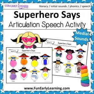 Superhero Says Medial Sounds Activity