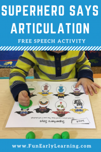 Superhero Says Articulation Activity for Initial Sounds! Fun free printable for working on articulation, speech and phonics! Great for preschool, pre-k, kindergarten, and early childhood. #articulation #speechtherapy #phonics #freeprintable