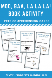 Moo, Baa, La La La Book Companion Comprehension Cards Free Activity. Great for articulation, speech, literacy and language. Fun activity for toddlers, preschool, kindergarten, RTI, and early childhood. #comprehension #literacycenter #moobaalalala #freeprintable