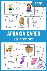 Apraxia Speech Cards for Speech Therapy and speech activities. Free Apraxia Cards Starter Set for practicing speech and articulation with toddlers, preschool, kindergarten and kids.