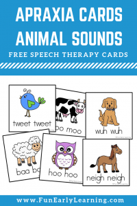 Apraxia Speech Cards - Animal Sounds for Speech Therapy. These free speech cards are great for working on speech and articulation with toddlers, preschool, and kindergarten. #speech #speechtherapy #apraxia #freeprintable