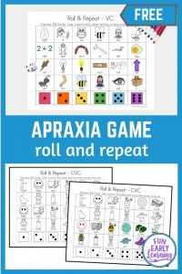 Apraxia Roll and Repeat for Speech Therapy. Free printable speech activity for learning articulation, speech, language and phonics. Perfect for preschool, prek, and kindergarten. #speechtherapy #apraxia #freeprintable