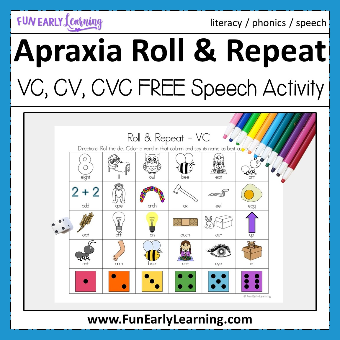 photograph regarding Free Printable Speech Therapy Materials referred to as Apraxia Roll and Repeat for VC, CV, and CVC text for speech