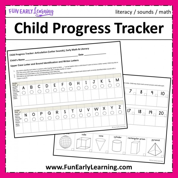 Child Progress Tracker Free Printable. Great way to track your child's literacy and math progress throughout the year in preschool and kindergarten. #kindergartenprep #progresstracker #freeprintable