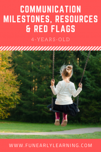 Communication Milestones, Resources and Red Flags for 4-Years-Old. Great information on language and communication skills to look for in your child. Also includes helpful resources and tips for speech, articulation, language and more! #articulation #language