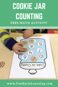 Cookie Jar Counting Free Math Activity. Fun free printable for learning number identification, matching, and counting! Perfect for preschool, kindergarten and RTI. #mathactivity #counting #freeprintable