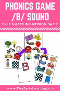 Matching Mission /b/ Sound Articulation Phonics Game for preschool, toddlers, and speech therapy. Fun free printable to work on initial sounds, articulation and phonics! Great for preschool, kindergarten and early childhood.  #initialsounds #beginningsounds #phonics #freeprintable