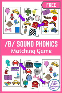 Fun Phonics Activities for Preschool and Kindergarten! Fun Matching Mission /B/ Sound hands on game. #phonicsactivities #freeprintable #funearlylearning