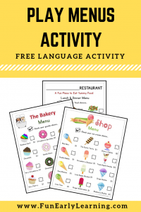 Play Menus for fun practical life play! Great free printable for toddlers, preschool, kindergarten, and early childhood! #speech #articulation #freeprintable #funearlylearning