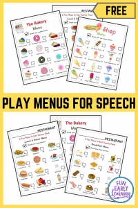 Play Menus for Kids! Fun free printable menus for children. Great for speech and language development! #freeprintable #playmenu #funearlylearning
