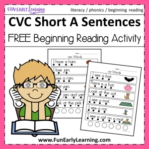 Beginning Reading CVC Short A Sentences Activity. Fun free printable phonics activity that is great for preschool, kindergarten, RTI and early childhood! #phonics #beginningreading #freeprintable