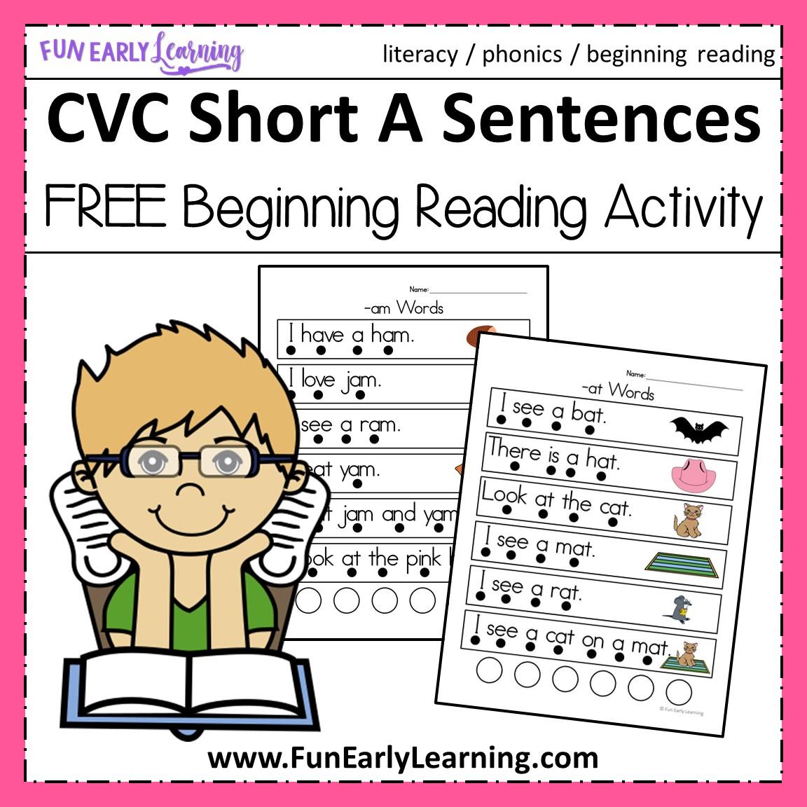 CVC Short A Sentences - Beginning Reading and Phonemic Awareness