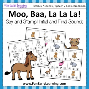 Moo, Baa, La La La FREE Say and Stamp Initial and Final Sounds Phonics Activity. Fun way to learn initial sounds, beginning sounds, phonics, matching, and articulation! Perfect for preschool, kindergarten, RTI, and early childhood. #phonics #literacycenter #initialsounds #beginningsounds #finalsounds #freeactivity #freeprintable #preschool #kindergarten #RTI #bookcompanion #moobaalalala