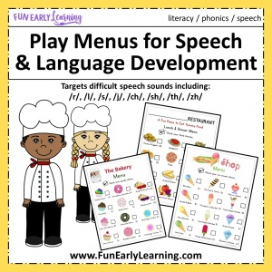 Play Menus for fun practical life play! Great free printable for toddlers, preschool, kindergarten, and early childhood! #speech #articulation #freeprintable