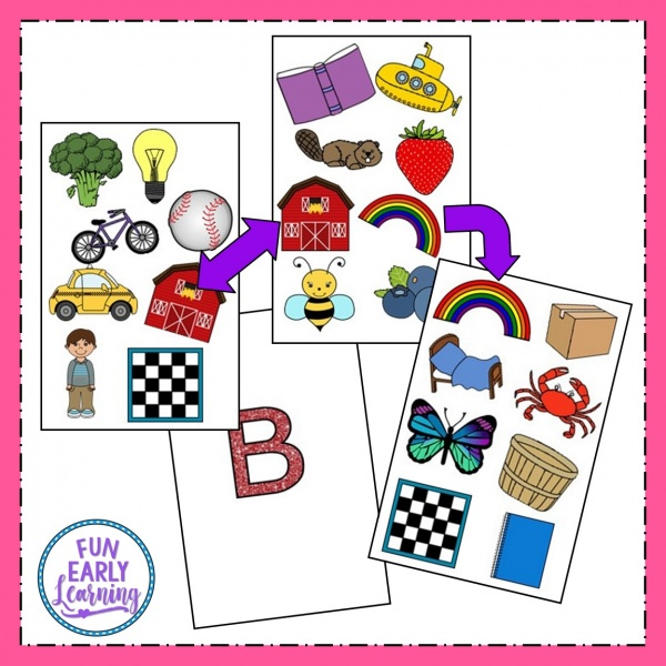 Free Matching Mission B Sounds game for speech therapy and articulation. Great for preschool, prek, and kindergarten. #phonicactivities #speechtherapy #freeprintable #funearlylearning