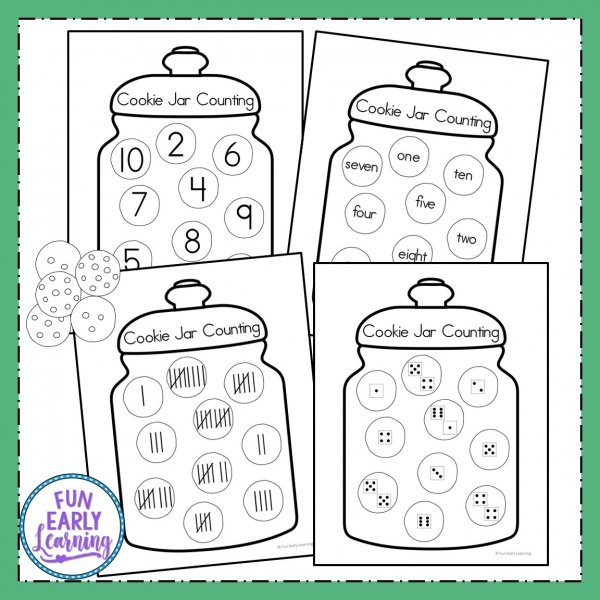 Cookie Jar Counting Free Printable! Fun numbers activities for preschool, kindergarten and first grade. Perfect for learning and counting numbers 1-20. #mathcenter #numbersactivities #funearlylearning