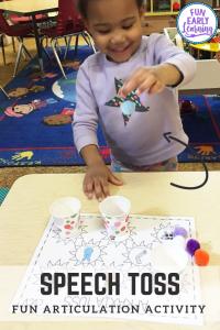 Apraxia Speech Toss Speech Therapy Activity. Fun activity for speech, articulation, language, and gross motor skills. Great for preschool, kindergarten, and early childhood. #articulation #speechtherapy #apraxiaactivity