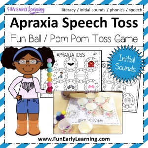 Apraxia Speech Toss Speech Therapy Activity. Fun activity for speech, articulation, language, and beginning sounds. Great for preschool, kindergarten, and early childhood. #articulation #speechtherapy #apraxiaactivity