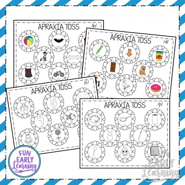 Apraxia Speech Toss Speech Therapy Activity. Fun activity for speech, articulation, language, and beginning sounds. Great for preschool, kindergarten, and early childhood. #articulation #speechtherapy #apraxiaactivity
