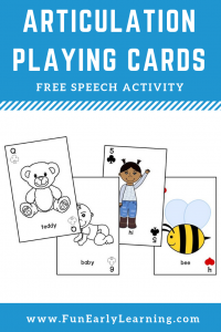 Articulation Playing Cards Speech Therapy Game! Fun free printable for learning articulation, phonics, initial sounds and speech skills. Perfect for preschool and kindergarten! #articulation #speechtherapy #apraxia #freeprintable