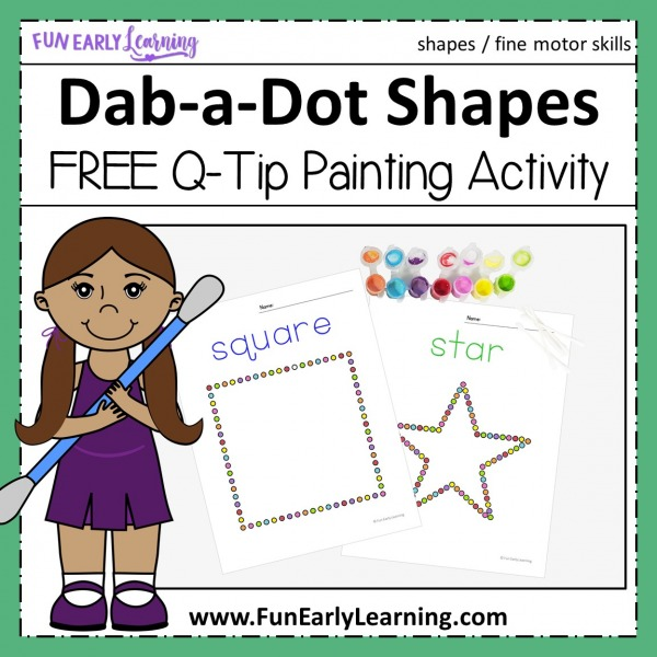 Fun shape activities for preschool and kindergarten! Dab-a-Dot Shapes free printable for at home or in the classroom. Fun hands on shape art that also works on fine motor skills.
