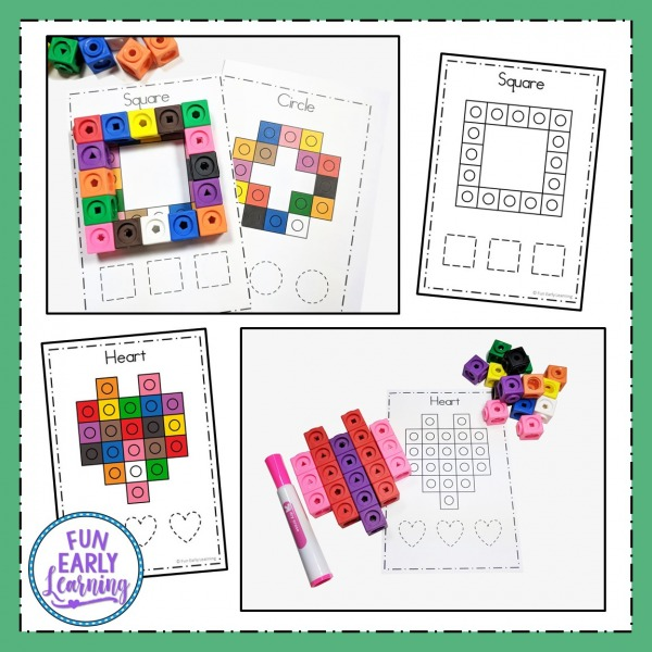 Fun Shapes Activity! Snap Cube Shapes for learning to draw or write 10 shapes. Perfect hands on printable for preschool, prek, kindergarten, and homeschool. Color and black and white available.