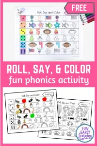 Roll Say and Color Initial Sounds Fun Phonics Activity! Learn beginning sounds, phonemic awareness, and letter-sound correspondence with our fun hands-on activity! Great for preschool and kindergarten.