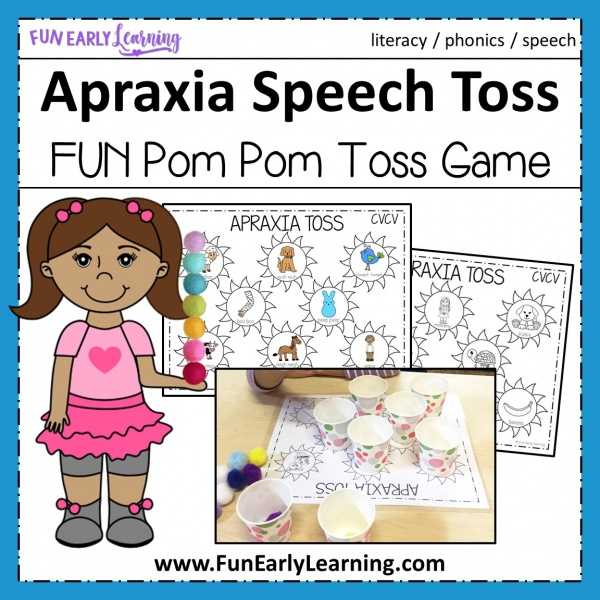 Apraxia Speech Toss Speech Therapy Activity. Fun activity for speech, articulation, language, and gross motor skills. Great for preschool, kindergarten, and early childhood. #articulation #speechtherapy #apraxiaactivity