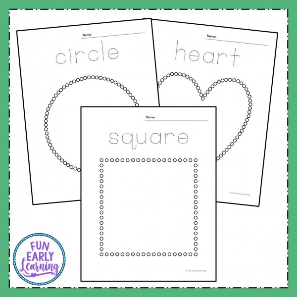 Dab-a-Dot Shapes Free Printables! Fun hands-on shapes activities for preschool, kindergarten, and first grade. Uses fine motor skills and art to form the shapes. #shapesactivity #mathcenter #funearlylearning