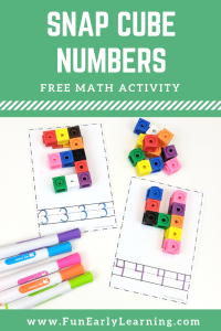 Preschool Numbers Activities for PreK, Preschool, and Kindergarten! Snap Cube Numbers free printable in color and blackline. #freeprintable #mathcenter #funearlylearning
