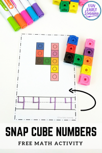 Snap Cube Numbers Free Printable Math Activity! Great for learning number recognition and identification, number formation, writing and matching. Fun activity for preschool, pre-k, kindergarten, RTI, and early childhood! #freeprintable #funearlylearning