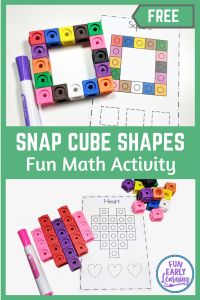 Snap Cube Shapes Math Activity. Free printable for preschool, kindergarten, prek, and homeschool. Teach children shape identification, shape formation, and writing!