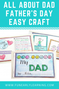 All About Dad Book for Father's Day. Tell dad all about how much you love him with this fun and easy craft! Perfect for preschool, kindergarten, early childhood, elementary, and middle school!