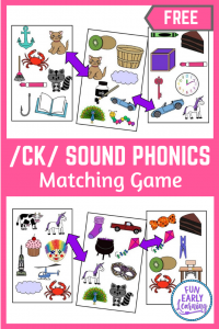 Fun Phonics Activities for Preschool and Kindergarten! Fun Matching Mission /CK/ Sound hands on game. #phonicsactivities #freeprintable #funearlylearning