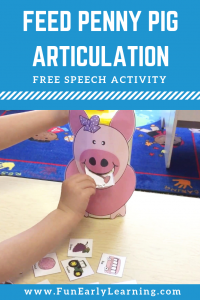 Feed Penny Pig Articulation Game for Speech and Language Development. Fun and silly free printable that is great for speech therapy for preschool, kindergarten and early childhood. #articulation #speechtherapy #freeprintable