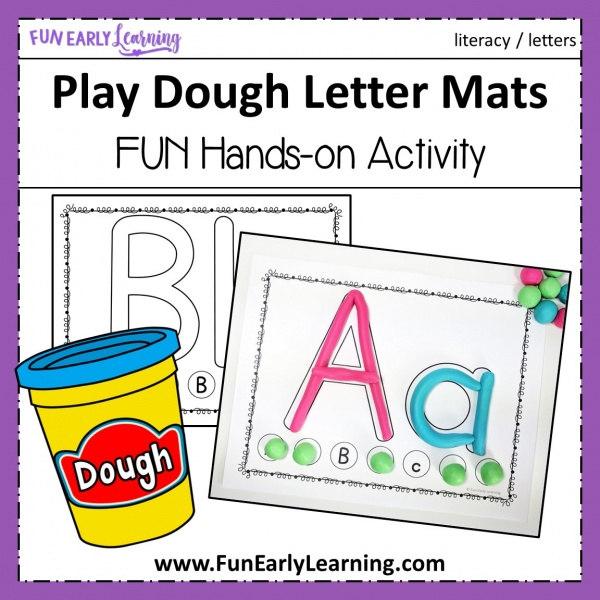 Play Dough Letter Mats Literacy Activity. Fun no prep activity for learning letter identification, letter formation and matching! Perfect for preschool, kindergarten, RTI and early childhood. #alphabetactivity #literacycenter #playdoughactivity